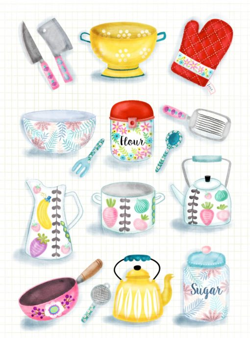 Beautiful Kitchenware Illustrations Poster Wall Art
