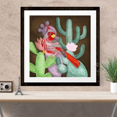 Desert Cardinal Bird Illustration 23x23cm Poster Wall Art