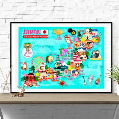 Japan Map Illustration Poster Wall Art