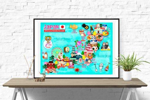 Japan Map Illustration Poster Wall Art