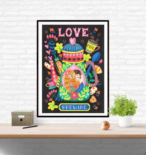 Love Is Brewing Coffee Art Wall Art Print Illustration
