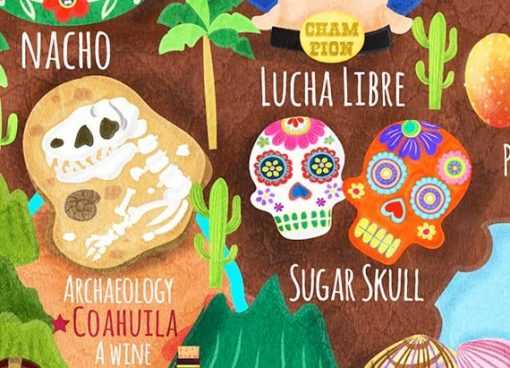Mexico Map Illustration Poster Wall Art