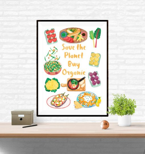 Organic Food Poster Delicious Food Wall Art