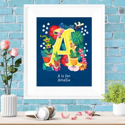 Personalised custom Initial letter Floral Poster Wall Art Custom girl name decor gift card
