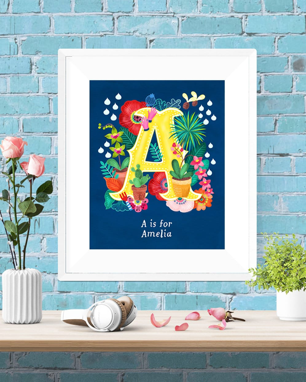 custom letters for wall personalised custom initial letter floral poster wall 21274