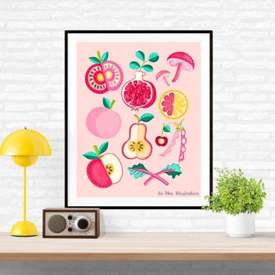 Pink Food Poster Illustration. Pink food. Food Illustration. Size displayed 16x12 inches, standard size 10x8 inches