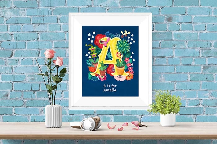 Spring Floral Personalised Initial Letter Illustrations