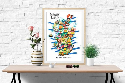 Scotland Food Map Illustration Poster Wall Art