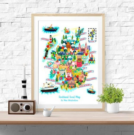 Scotland Map Illustration Poster Wall Art