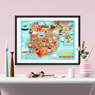 Spain Map Illustration Poster Wall Art