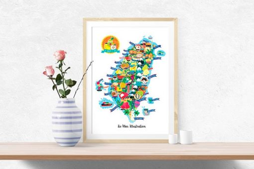 Taiwan Fruit Map Illustration Poster Wall Art
