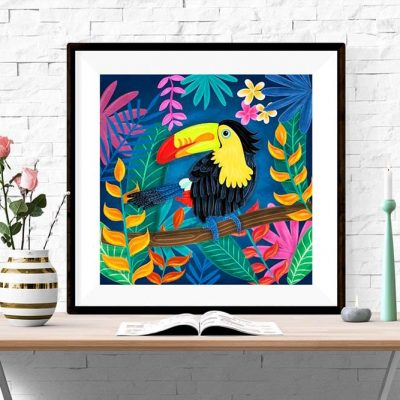 Toucan bird illustration 23x23cm Poster Wall Art Square Print Home Decor