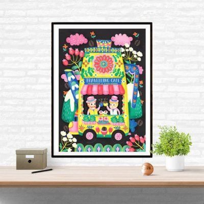 Travelling Cafe Coffee Art Wall Art Print Illustration