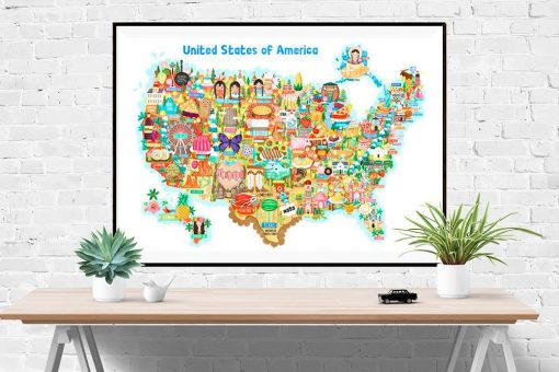 USA Map Illustration Poster Wall Art