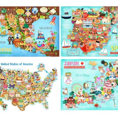 Buy One Get One Half Price Map Illustration Wall Art Print Poster-A4 and A3 only
