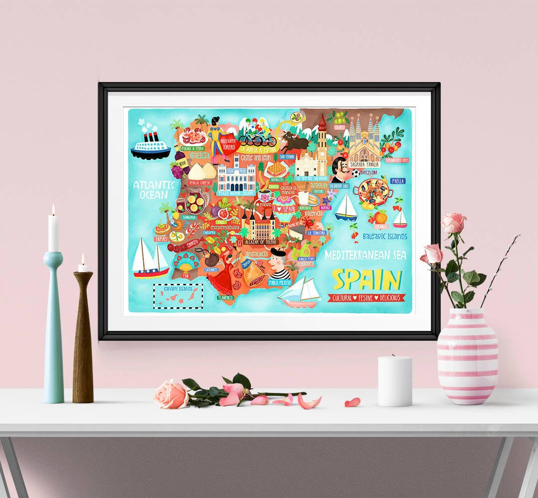 Buy one get one half price map illustration wall art print poster a4 and a3