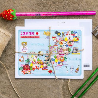 japan postcard map illustration