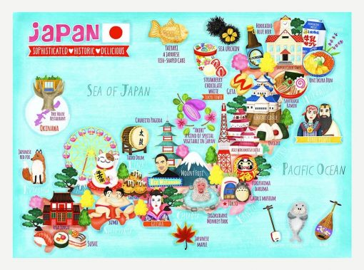 Japan Map Illustration Postcard Mini Print