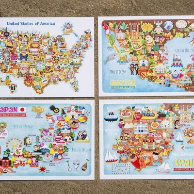 set of 3 map postcards