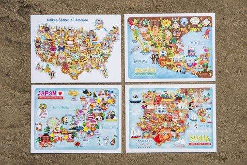 4 illustrated map postcards