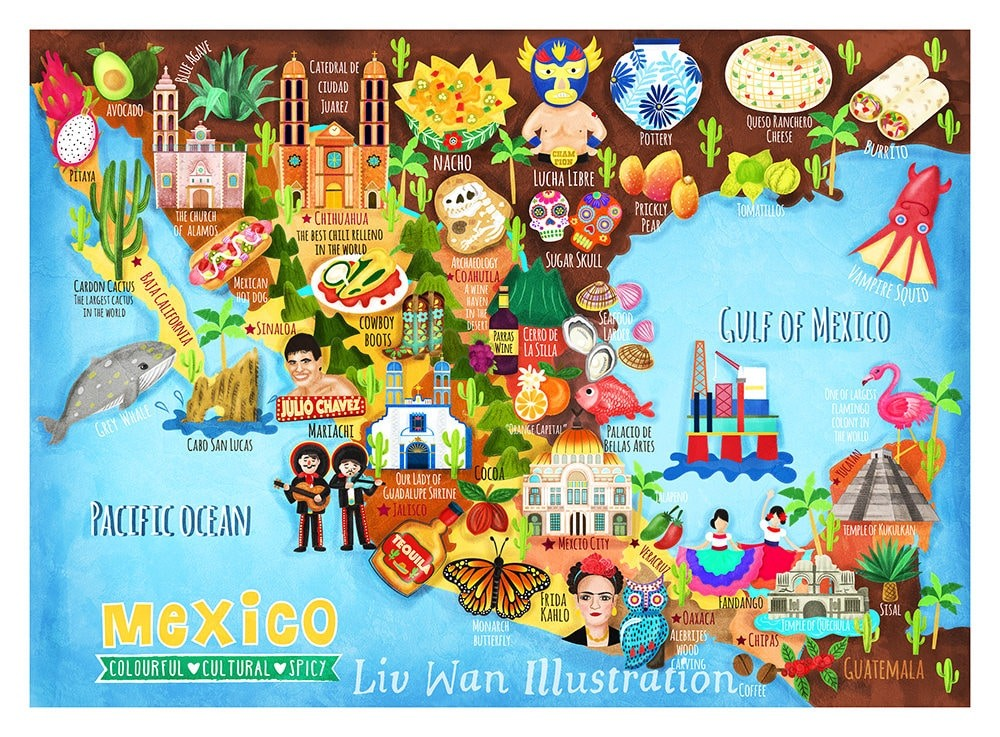 Mexico Map Illustration Postcard Mini Print Liv Wan Illustration