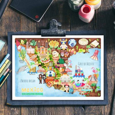 Mexico Map Postcard Illustration Mini Print