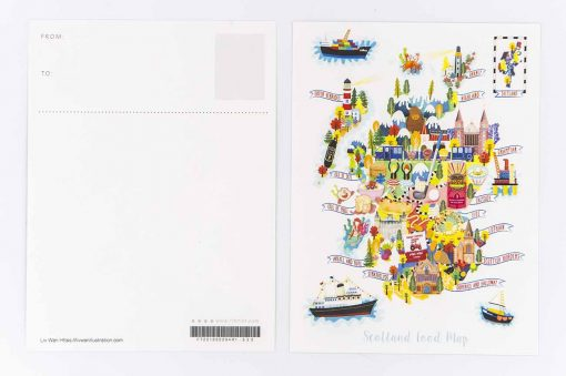 scotland food map postcard