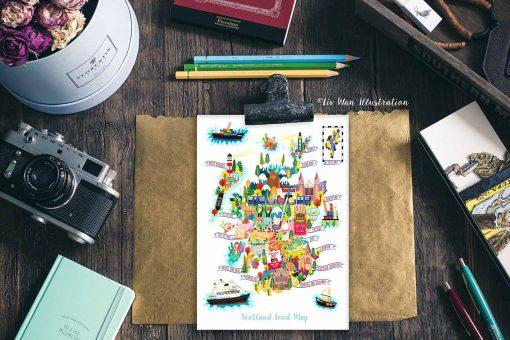 Scotland Food Map Postcard Illustration