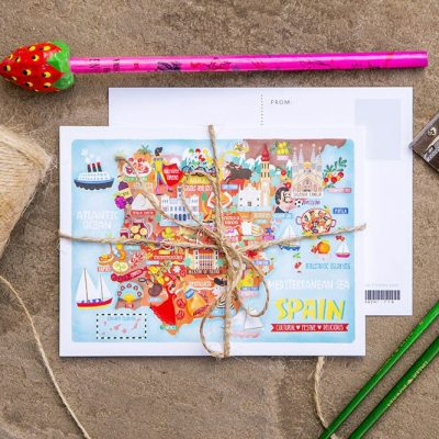 Spain Map Illustration Postcard Mini Print