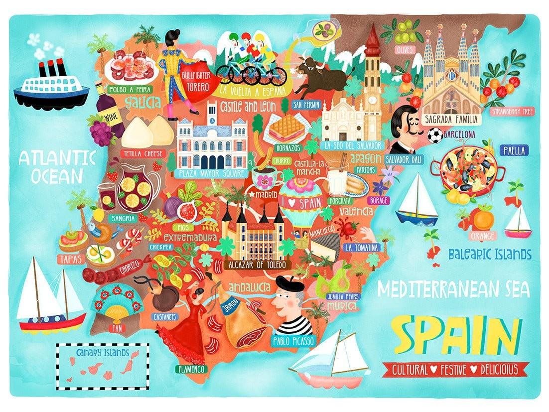 Map Of Spain For Printing.Spain Map Illustration Postcard Mini Print