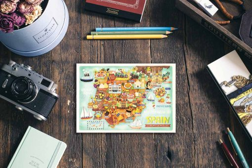 spain postcard map