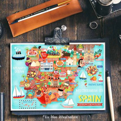 Spain Postcard Map Illustration Mini Print