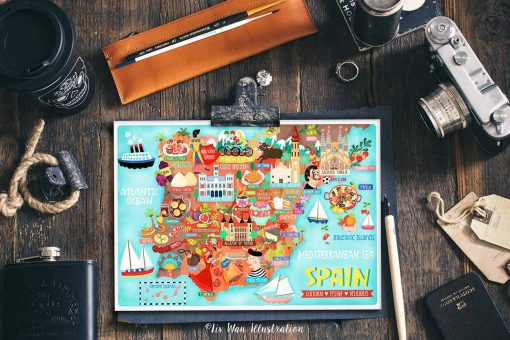 Spain Postcard Map Illustration Mini Print