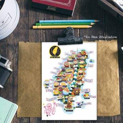 Taiwan Street Food Map Illustration Postcard Mini Print