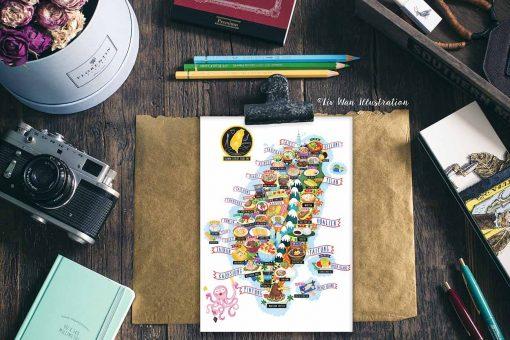 taiwan street food map postcard