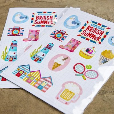 great british summer travel sticker sheet