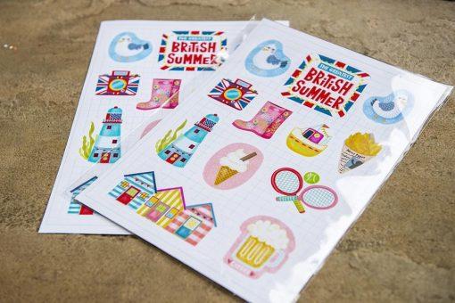 great british summer travel sticker sheet