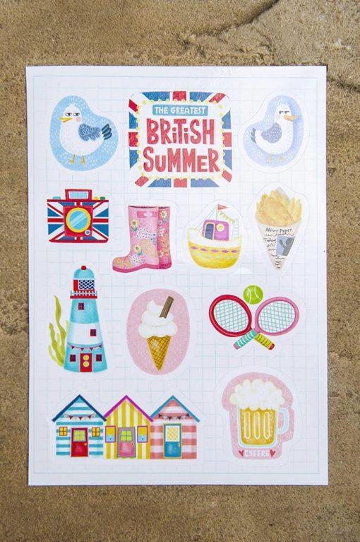 The Greatest British Summer Sticker Set-11 stickers-A5 sticker sheet-summer travel planner stickers