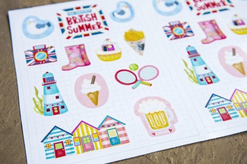 The Greatest British Summer Sticker Set-11 stickers-A5 sticker sheet-summer travel planner stickers