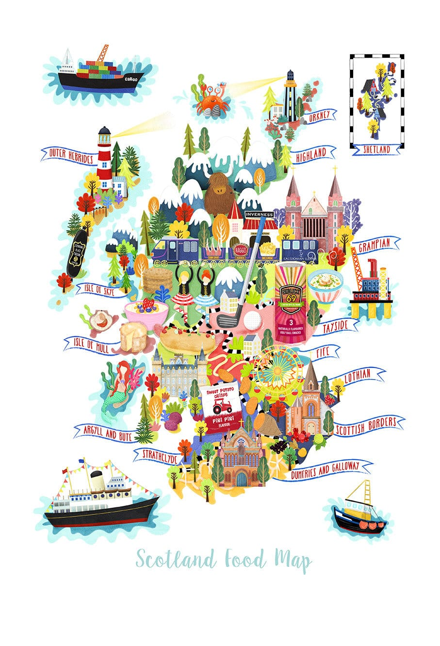 The Scotland Food Map Illustration Postcard Mini Print ...