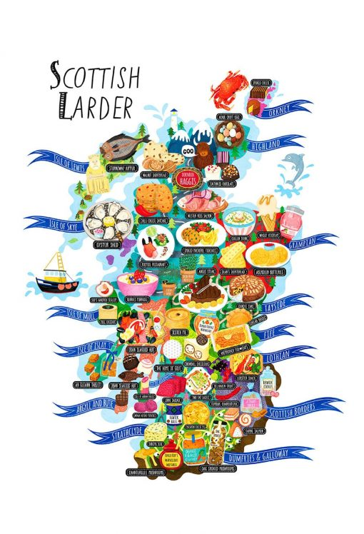 The Scottish Larder Food Map Illustration Postcard Scotland Mini Print
