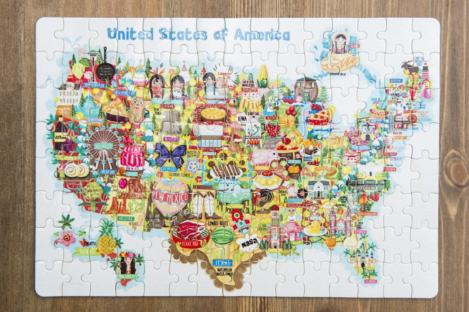 USA Map Illustration Jigsaw Puzzles Pieces Liv Wan Illustration - Usa map jigsaw puzzle