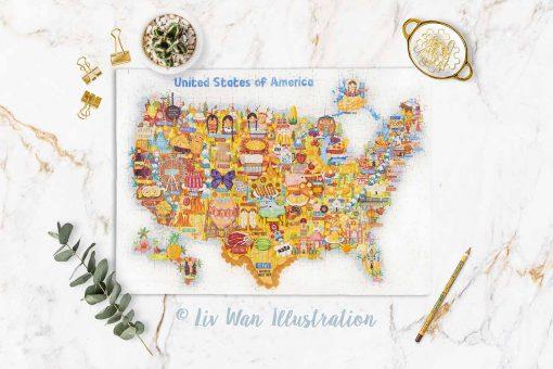 USA Map Jigsaw Puzzle 384 pieces premium hand made
