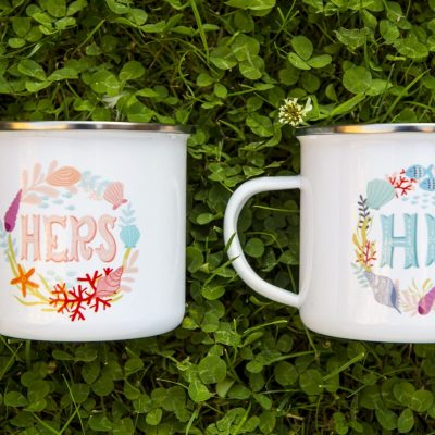 Matching Couple Coffee Mugs Retro Camper Mug His & Hers Mug Ocean Inspiration Metal Enamel Camping Mug Backpacking Mug