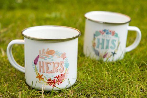 Matching Couple Coffee Mugs Retro Camper Mug His & Hers Mug Ocean Inspiration Metal Enamel Camping Mug Backpacking Mug