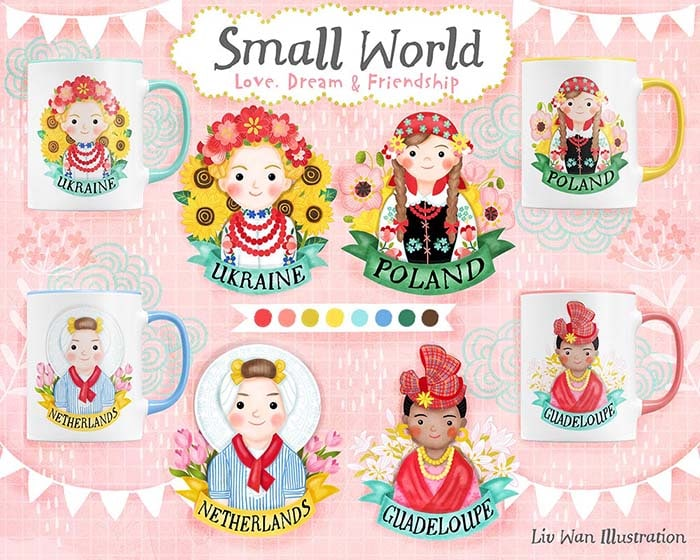 Small World Ellis Island Mug Illustrations