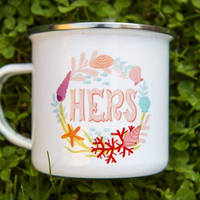 Retro Camper Mug for Her Hers Mug Ocean Inspiration Metal Enamel Camping Mug Backpacking Mug