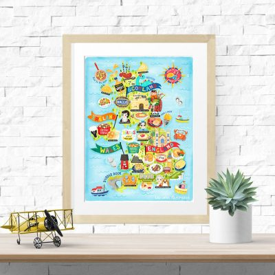 United Kingdom Map Illustration Art Print Wall Art Poster