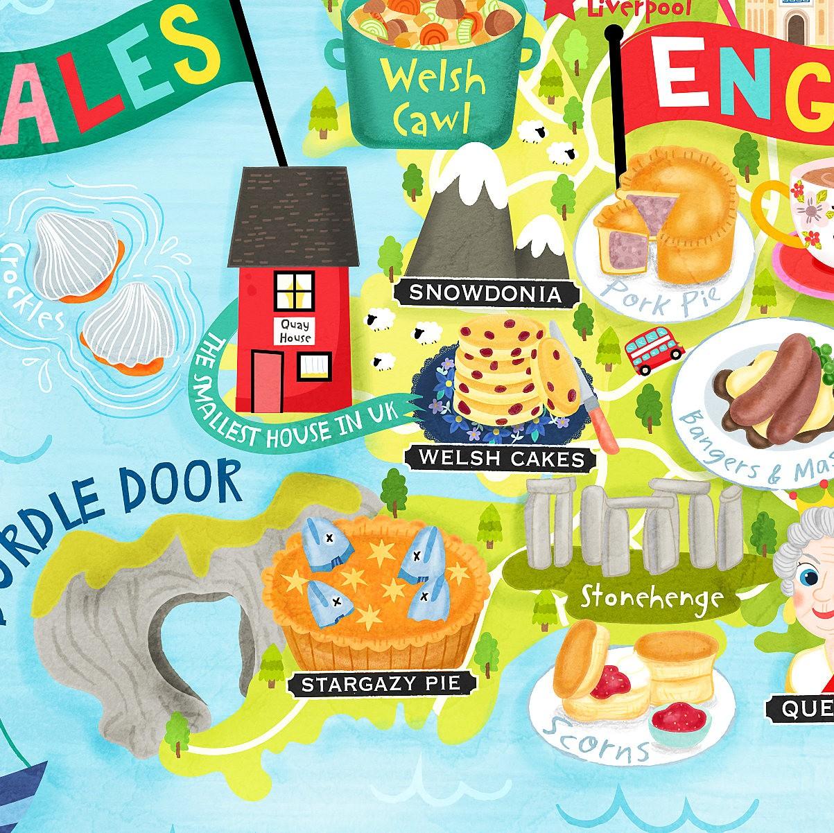 United Kingdom Map Illustration Art Print Wall Art Poster - Liv Wan ...