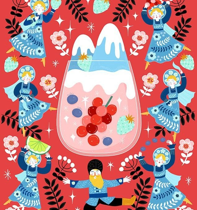 Russian Berries Mules Illustration